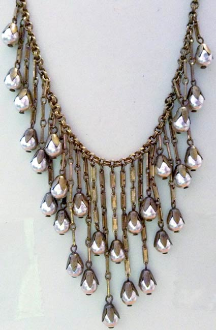 bead cap necklace with Japanese glass pearls