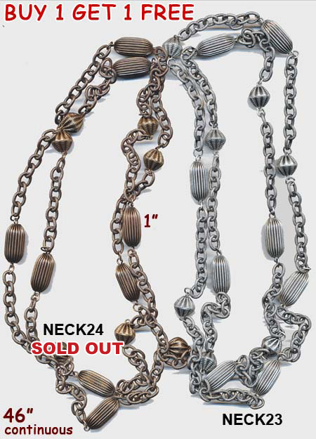 chain, necklace, belt, fab necklace with metal beads, silver, bronze