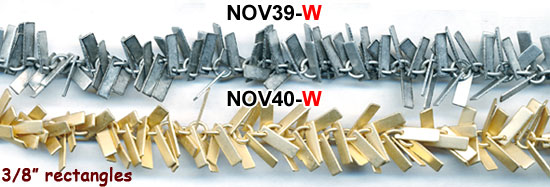 chain, novelty fringe, smooth flat rectangles, silver, gold