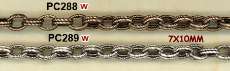 chain, fancy, double link, textured cable, bronze, silver