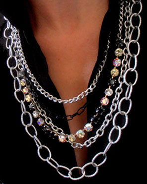 rhinestone connector chain, silver, necklace