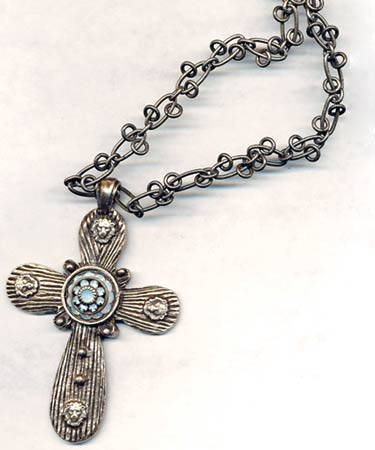 cast pendant, large cross, with 15mm rhinestone center, antique silver, bronze