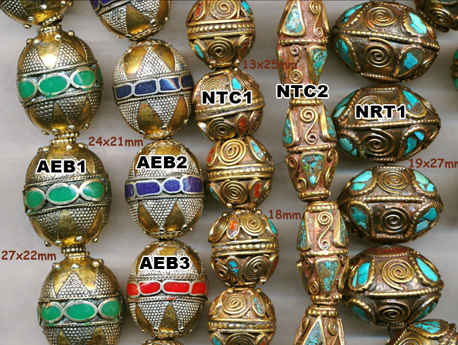import, Afghanistan, handmade, enamel inlay beads, green, blue, red, Nepal, turquoise, coral inlay, large rondelle
