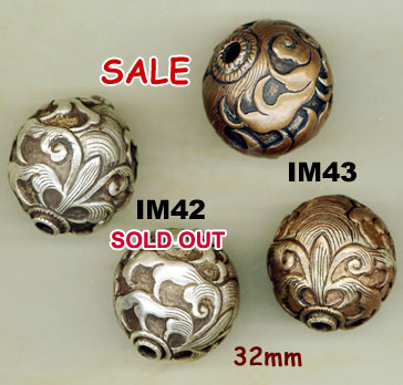 import, Nepal, handmade, bead, floral, round, sterling silver, copper