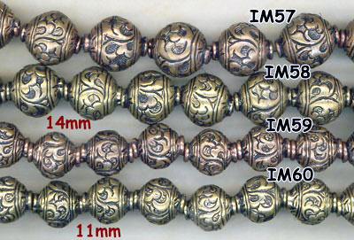 import, Nepal, handmade, round, bead, antique, copper, brass