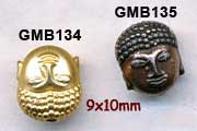 metal beads, great tiny buddha heads, matte gold, antique silver